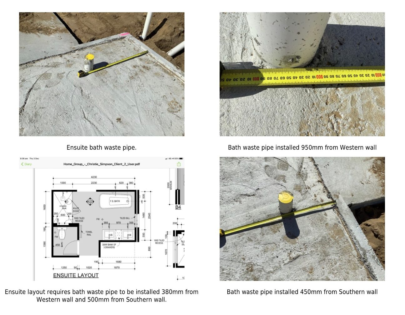 Slab Incorrect Waste Pipe Location