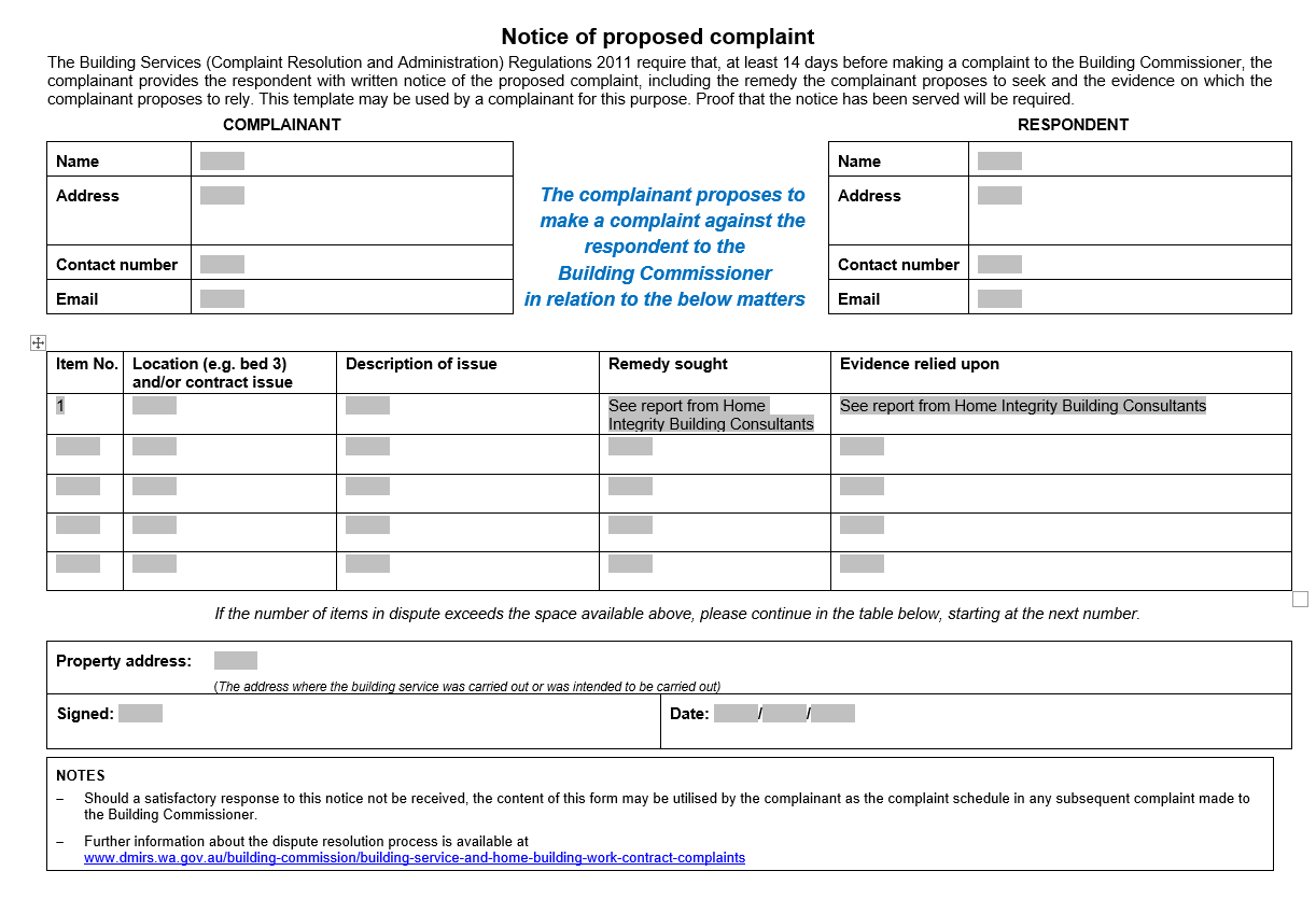 Notice of Proposed Complaint Building Commission